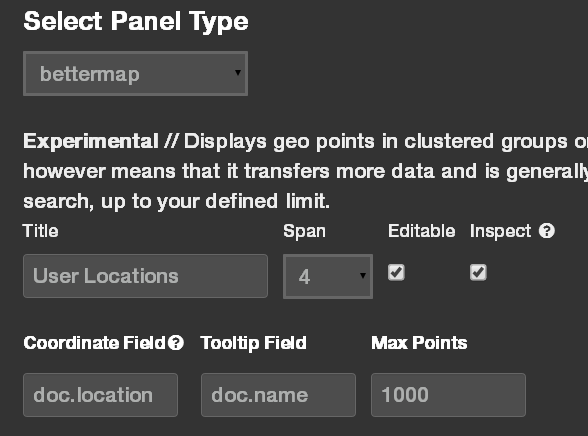 User locations panel setup